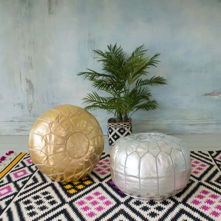 Metallic Moroccan Leather Pouffes - Thumbnail