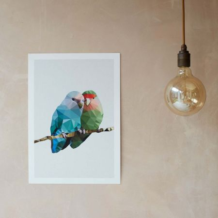 Geometric Two Love Birds Print  - Thumbnail