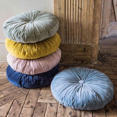 Round Ruched Velvet Cushions - Thumbnail