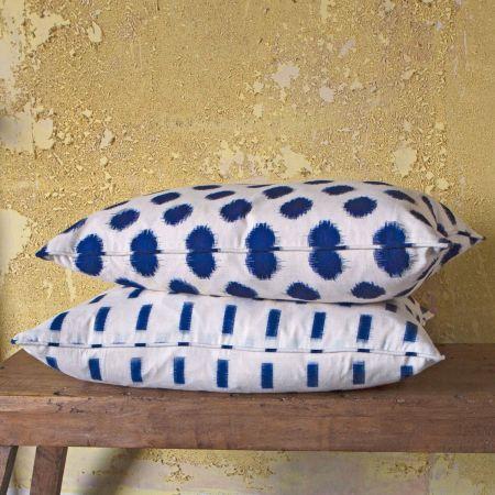 Woven Indigo Ikat Rectangular Cushions