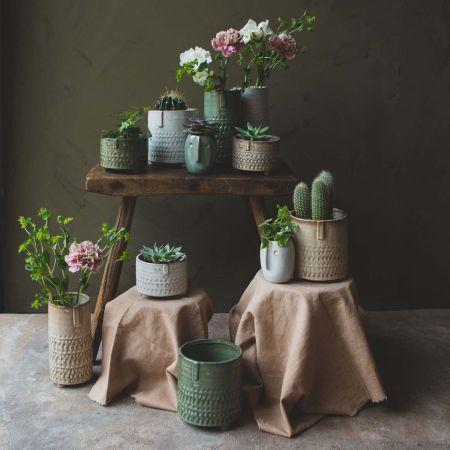 Taupe Face Imprint Plant Pots