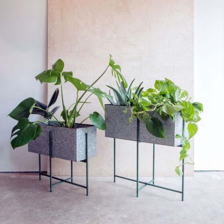Set of Two Rectangular Zinc Plant Stands