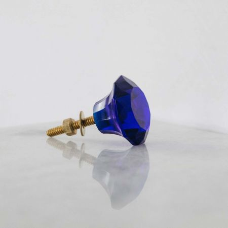 Small Blue Glass Drawer Knob - Thumbnail