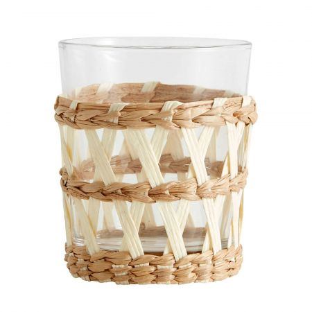 Glass with White Woven Paper Sleeve