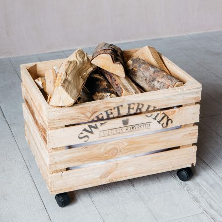 Wooden Crate on Wheels