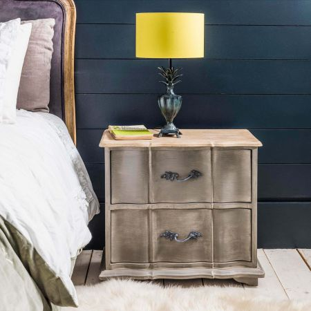 Florence Grey Wooden Bedside Table