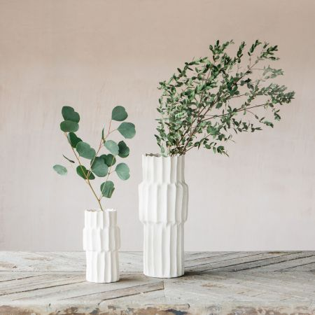 Ribbed Pillar Vases