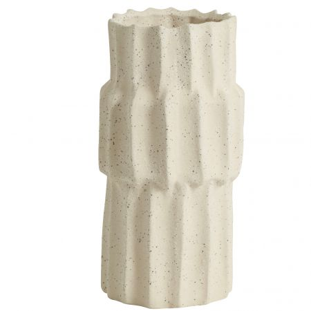 Small White Ribbed Pillar Vase