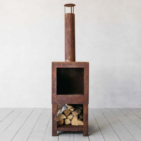 Square Rusty Log Burner