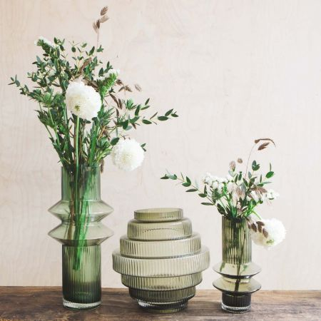 Smoke Green Ribbed Tiered Vase