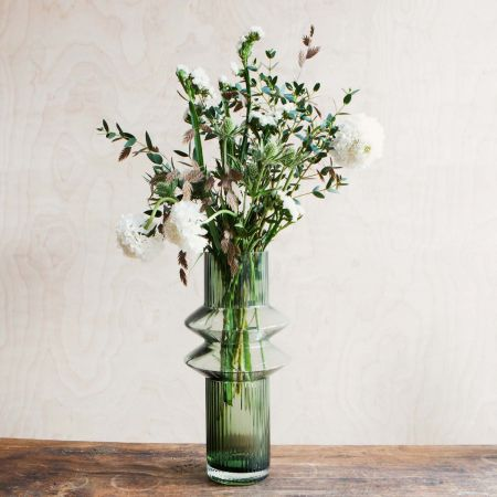 Medium Smoke Green Glass Vase