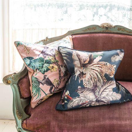 Navy Jungle Print Cushion