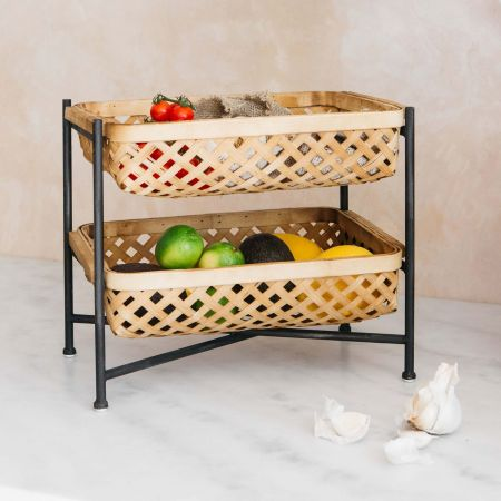Bamboo Tray with Baskets