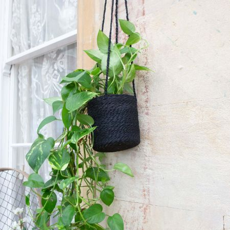 Black Jute Hanging Pot