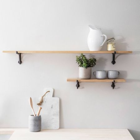 Oak Shelves with Iron Brackets