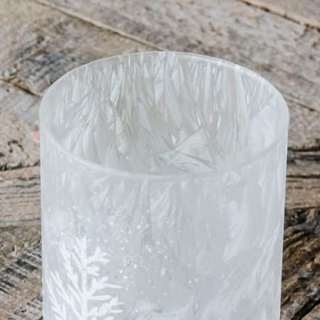Snowy Glass Tea Light Holder