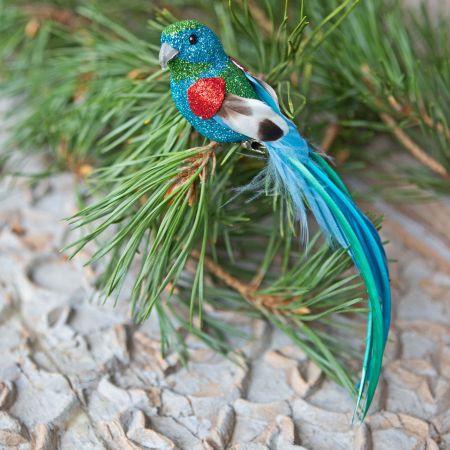 Blue Glitter Parrot Clip