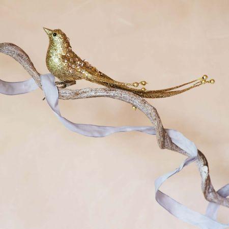 Gold Glitter Beaded Bird - Thumbnail