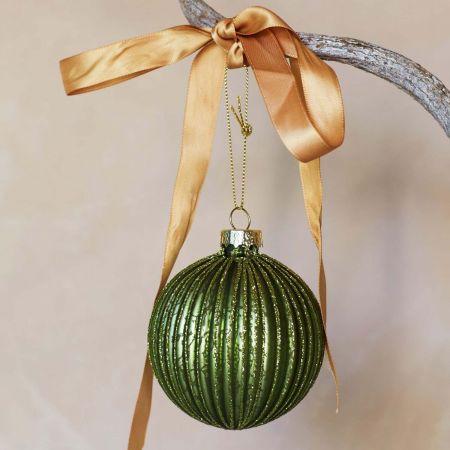 Ribbed Green Glass Decoration - Thumbnail