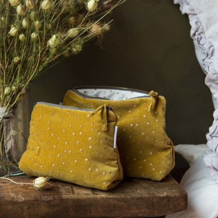 Mustard Dotty Velvet Wash Bags