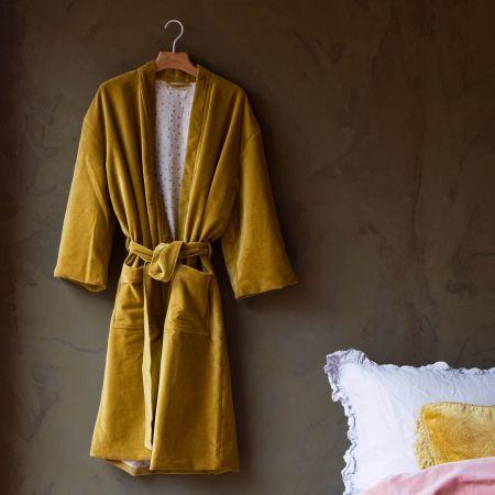Mustard Velvet Kimono Dressing Gowns