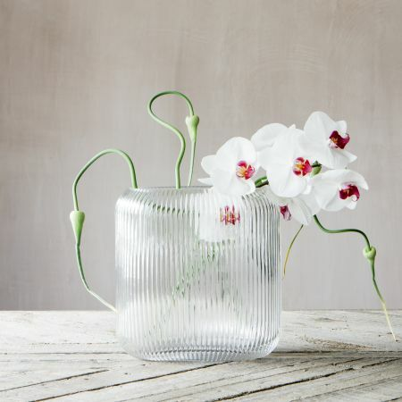 Clear Ribbed Oval Vase