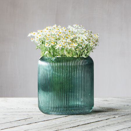 Green Ribbed Oval Vase
