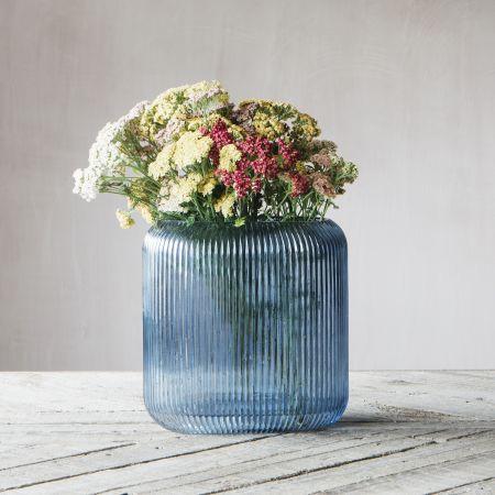 Blue Ribbed Oval Vase