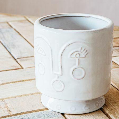 Small Face Ceramic Plant Pot