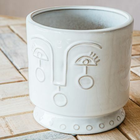Large Face Ceramic Plant Pot