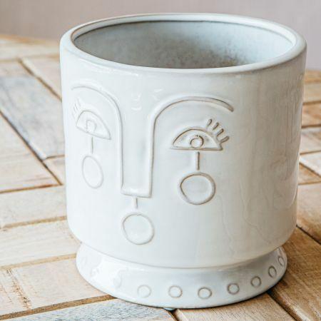 Large Face Ceramic Plant Pot