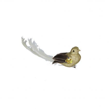 Gold & Cream Glitter Bird Clip
