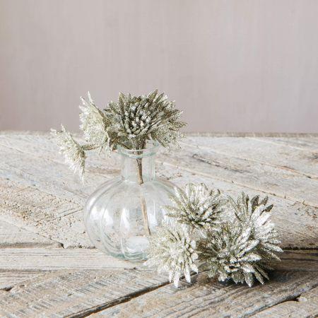 Silver Glitter Flower Spray
