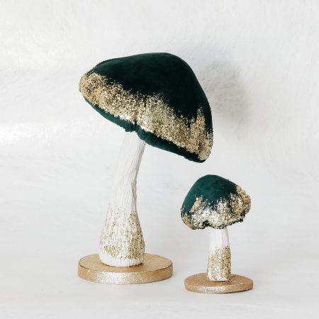 Set of Two Green Velvet Toadstools