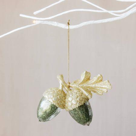 Green and Gold Glitter Acorns Decoration