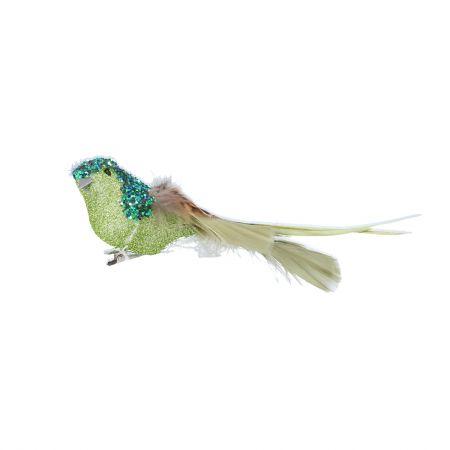 Green Glitter Bird Clip