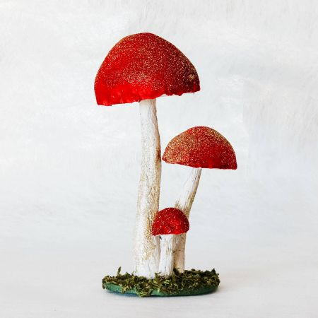 Red Triple Toadstool Decoration