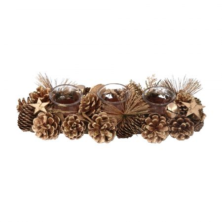 Pine Cone and Stars Candle Holder