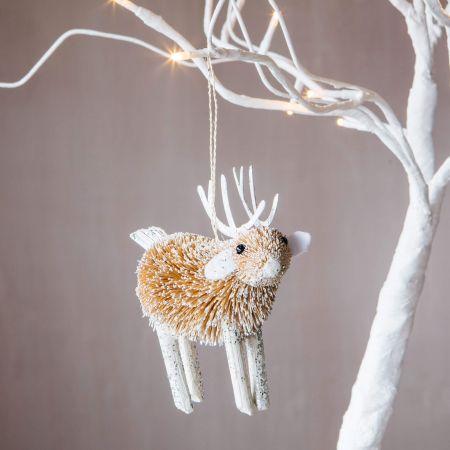 Silver Bristle Reindeer Decoration