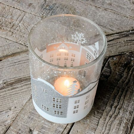Large Winter Town Tea Light Holder