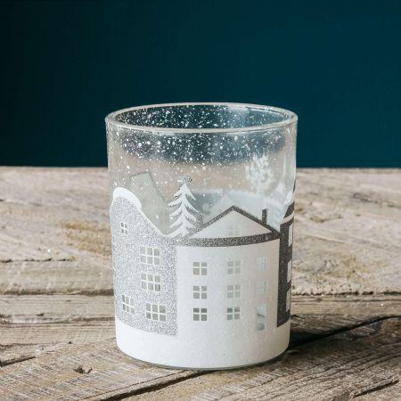 Small Winter Town Tea Light Holder