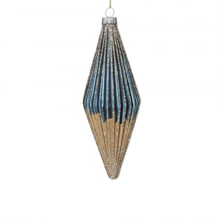 Blue and Gold Teardrop Bauble