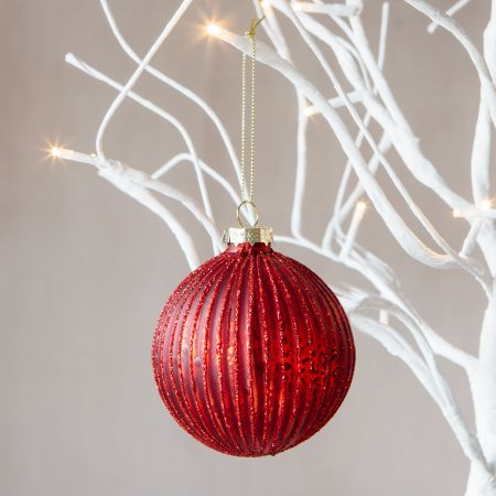 Red Glitter Ribbed Bauble