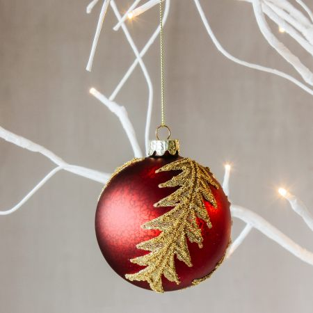 Red and Gold Leaf Bauble