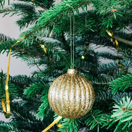 Gold Glitter Ribbed Bauble