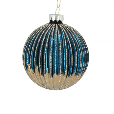 Blue and Gold Ribbed Bauble