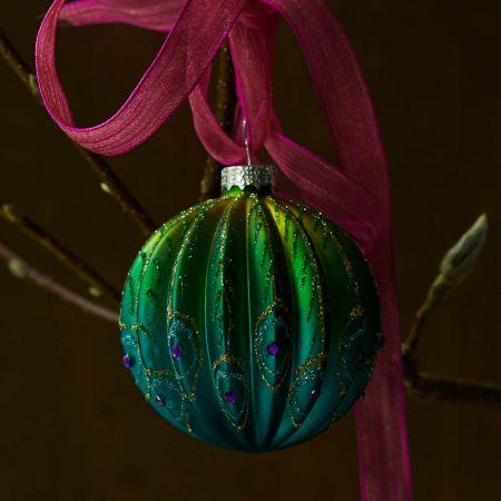 Ribbed Glass Peacock Ball - Thumbnail