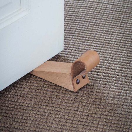 Wooden Door Wedge With Leather Strap