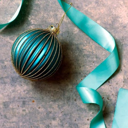 Turquoise Ribbed Glass Bauble - Thumbnail