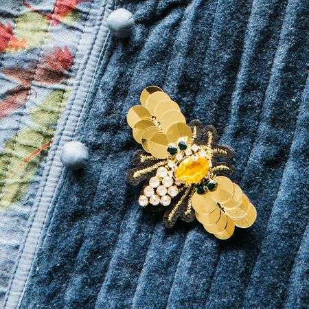 Diamante and Sequin Bee Brooch